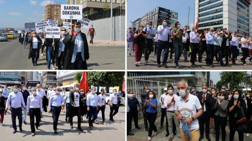 """Baroların seçim sistemi ve yapısını değiştirecek düzenlemeye tepki olarak bulundukları illerden """"Savunma yürüyüşü"""" başlatan 41 baro başkanın yürüyüşü 2'nci gününde."""